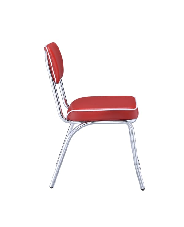 Leather Upholstered Metallic Retro Dining Side Chair, Red, Set of 2