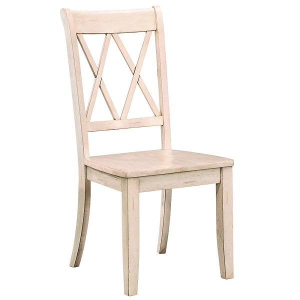 Pine Veneer Side Chair With Double X Cross Back, White, Set of 2