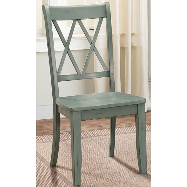 Pine Veneer Side Chair With Double X Cross Back, Teal Blue, Set of 2