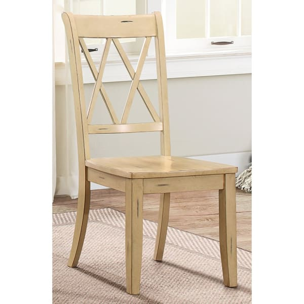 Pine Veneer Side Chair With Double X Cross Back, Sand, Set of 2