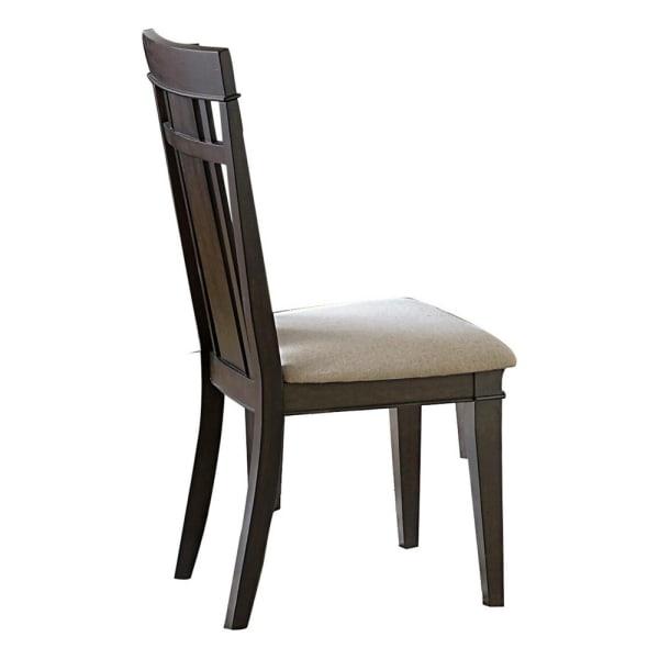 Wood Veneer Side Chair With Flared Back Legs, Dark Brown, Set of 2
