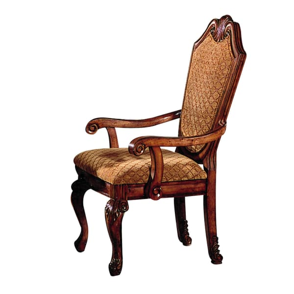 Wooden Side Armchairs With Fabric Upholstered Seat And Back, Set Of 2, Cherry Brown
