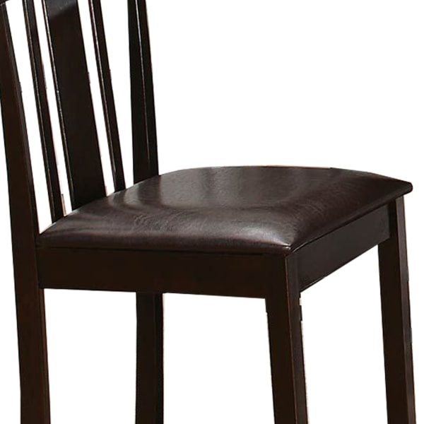 Wood & Leather Counter Height Chair with Slat Back Design, Espresso Brown, Set of 2