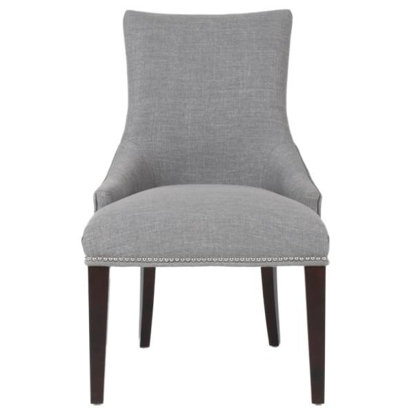 Fabric Upholstered Wooden Dining Chair, Gray and Brown