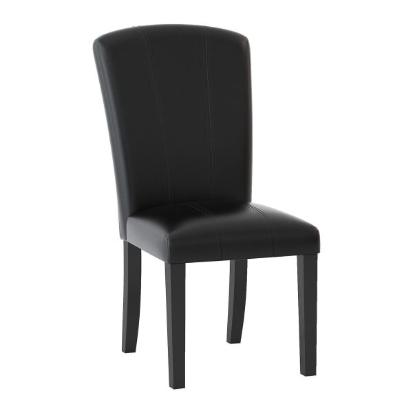 Wooden Side Chair with Leatherette Seat and Back, Espresso, Set of 2