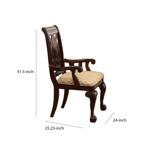 Traditional Style Wooden Fabric Dinning Arm Chair , Set of 2