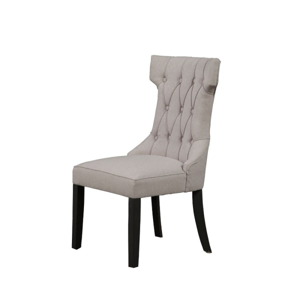 Upholstered Button Tufted Side Chairs With Wooden Base Set Of 2