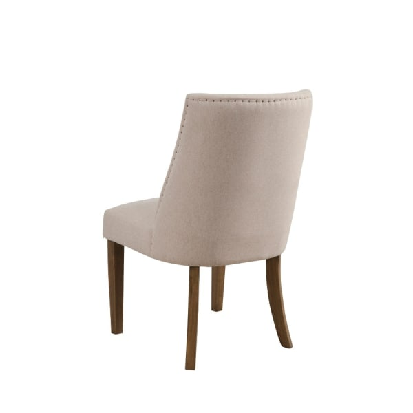 Upholstered Pine Wood Parson Chairs Set Of 2 Cream And Brown