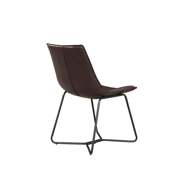 Bonded Leather Side Chairs With Metal Legs Set Of 2 Dark Brown