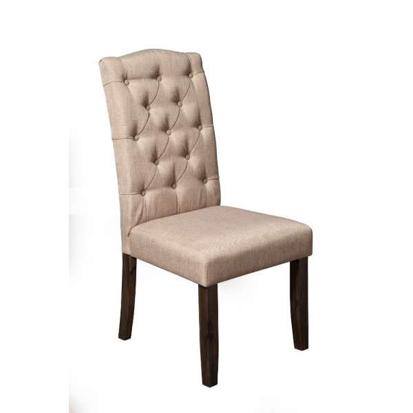 Set of 2 Button Tufted Parson Chairs Beige
