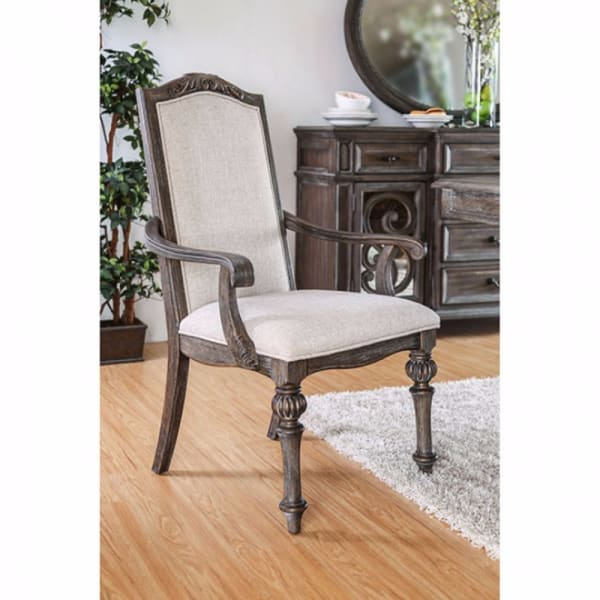 Wooden Arm Chair with Ivory Fabric Cushion Seat & back, Rustic Brown, Pack of 2