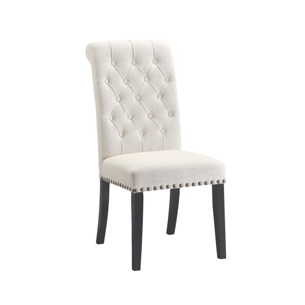 Wooden Dining Side Chair, Cream & Black, Set of 2