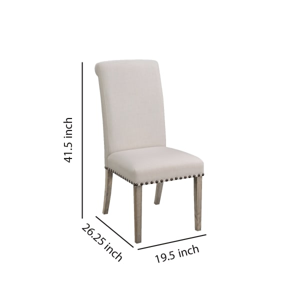 Rolled Back Parson Dining Chair, Beige, Set of 2
