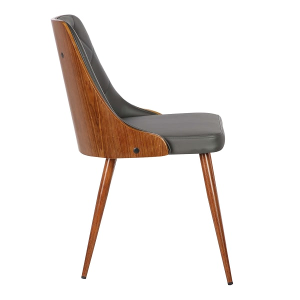 Leatherette Mid Century Tufted Wooden Dining Chair, Gray and Brown