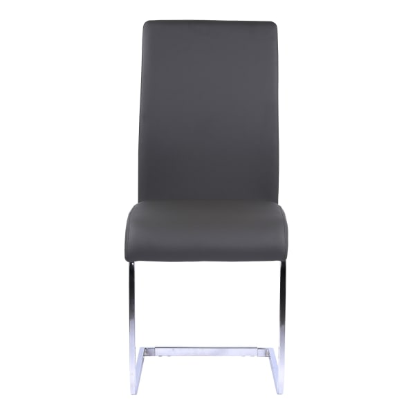 Metal Cantilever Base Leatherette Dining Chair, Set of 2, Gray and Silver