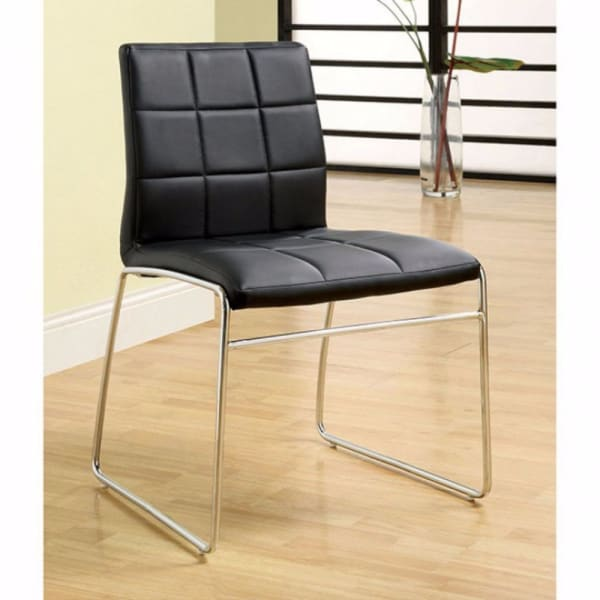 Tufted Leatherette Metal Frame Side Chair, Set of 2, Black and Chrome