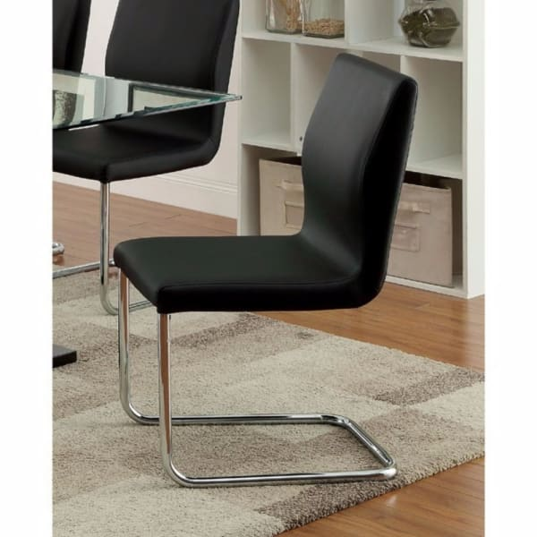 Lodia I Contemporary Side Chair With Black Pu, Set of 2