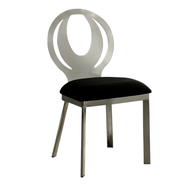 Orla Contemporary Side Chair With Black Microfabric Seat, Set of 2