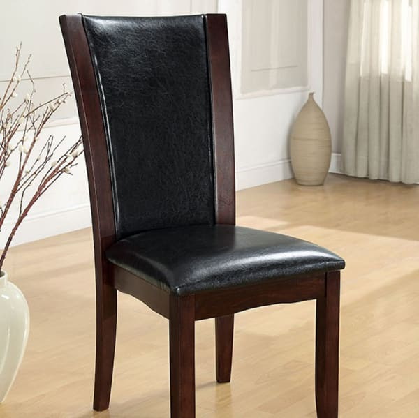 Parson Style Leatherette Wooden Side Chair, Set of 2, Cherry Brown