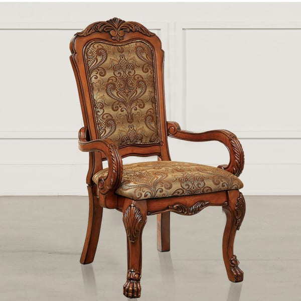 Medieve Traditional Arm Chair Seat, Antique Oak Finish, Set Of 2