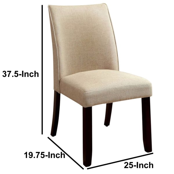 Cimma Contemporary Side Chair Withivory Flax Fabric - Set Of 2