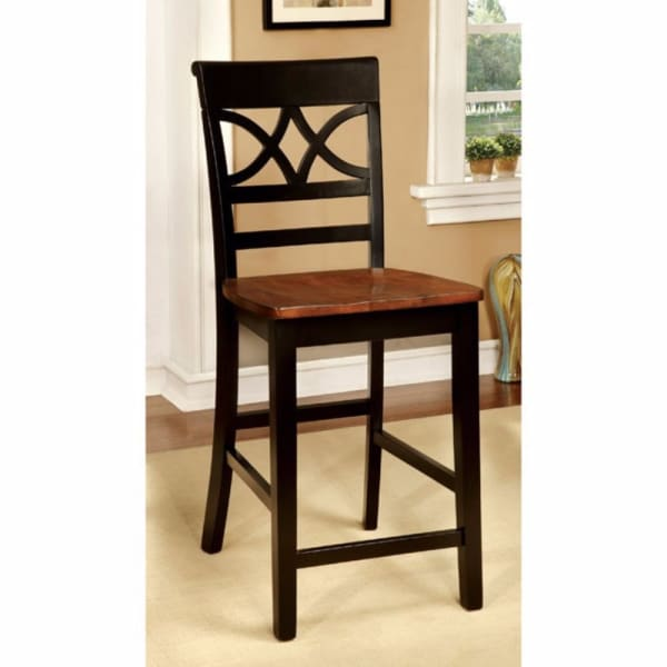 Wooden Side Chair with Cut Out Back, Set of 2, Brown and Black
