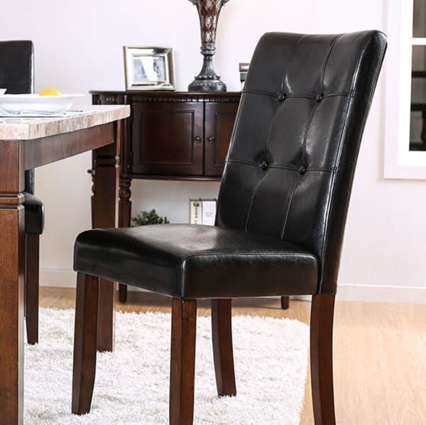 MARSTONE Transitional Side Chair, Brown Cherry & Black, Set of two