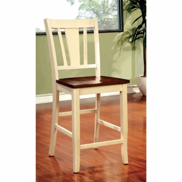 Transitional Wooden Counter Height Chair with Slatted Back, Set of 2, Cream