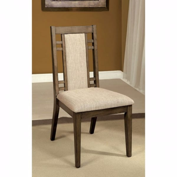 Eris I Transitional Side Chair With fabric, Gray Finish, Set of 2