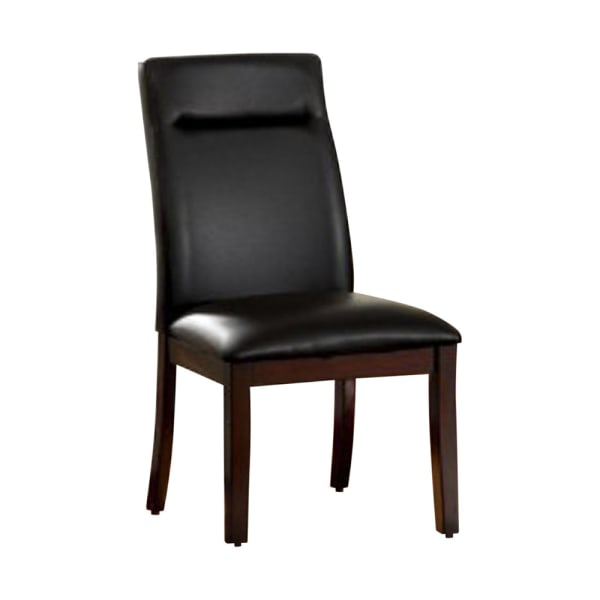 Lawrence Contemporary Side Chair With Bonded Leather, Cherry Finish, Set of 2