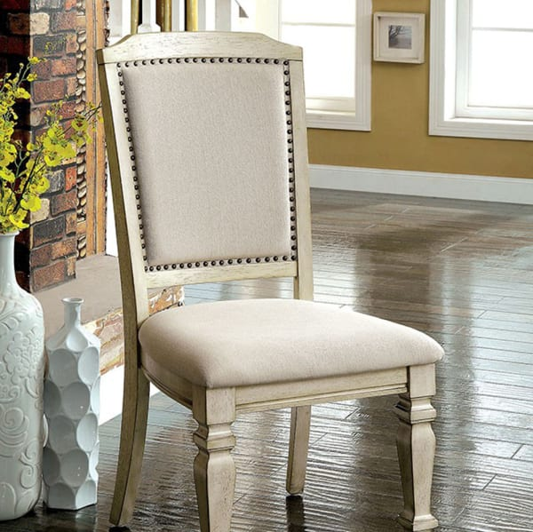 Nailhead Trim Fabric Upholstered Wooden Side Chair, Set of 2, Beige