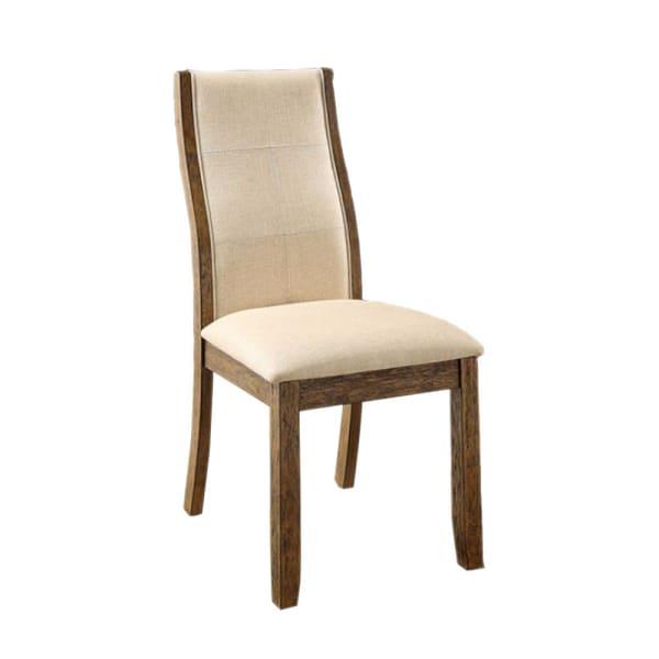 Onway Contemporary Side Chair, Oak & Beige, Set of 2