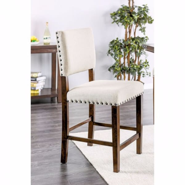 Fabric Counter Height Chair with Nailhead Trims, Set of 2, Brown and Cream