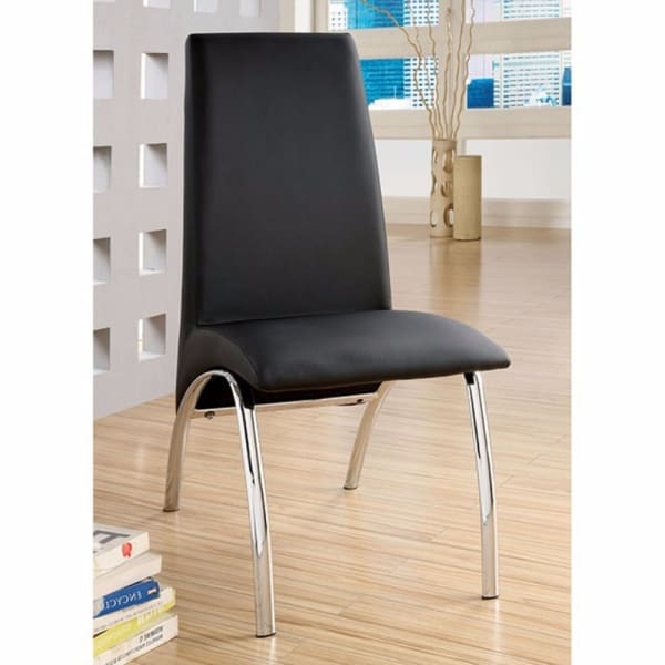 Glenview Contemporary Side Chair, Black Finish Set Of 2