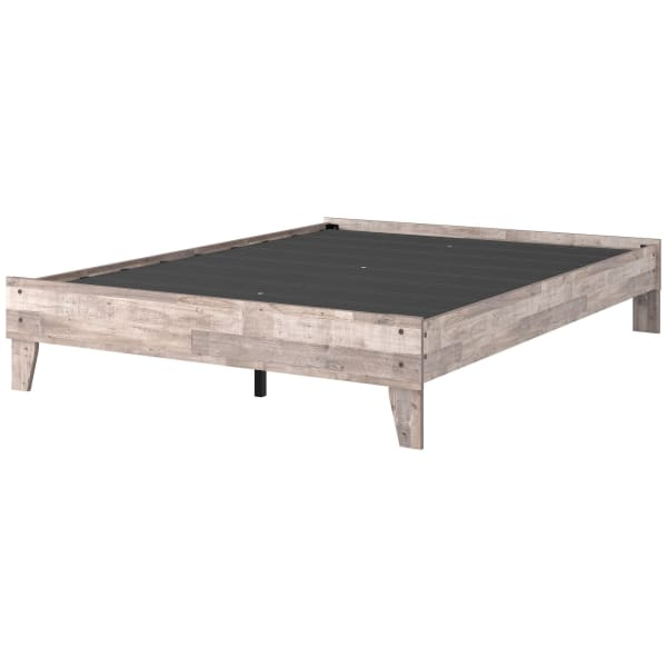 Queen Platform Bed with Butcher Block Design, Washed White
