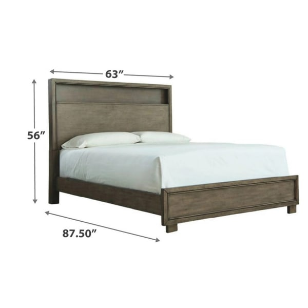 Molded Design Queen Bookcase Headboard and Footboard, Gray