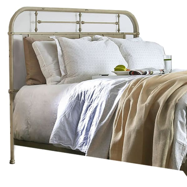 Industrial Style Metal Queen Size Bed, Antique White
