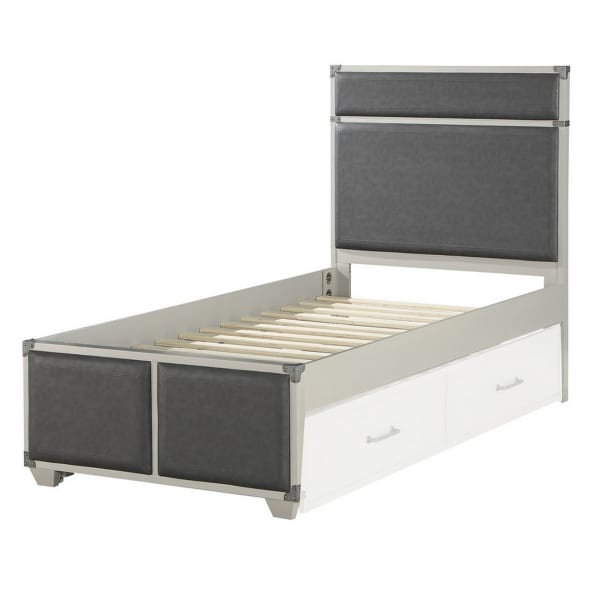 Wooden Twin Bed with Fabric Padding, White and Gray