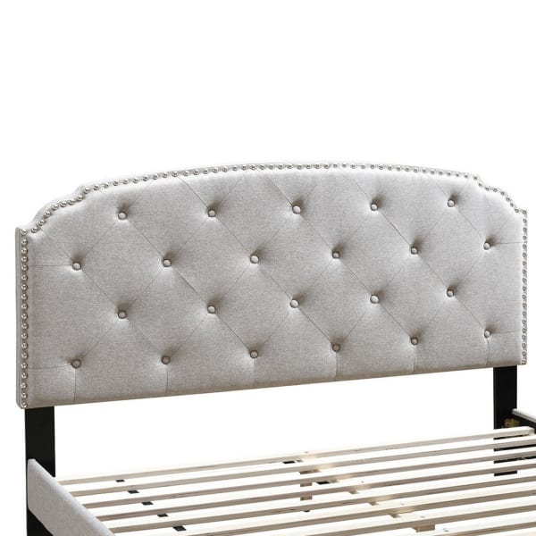 Queen Bed with Button Tufted Scalloped Headboard, Light Brown