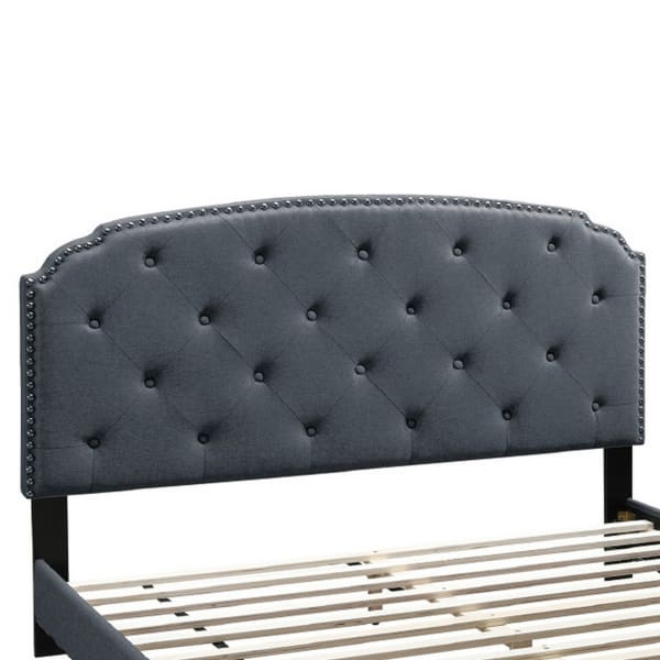 Full Bed with Button Tufted Scalloped Headboard, Gray