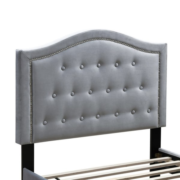 Button Tufted Full Velvet Bed with Curved Headboard, Gray