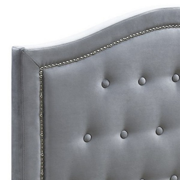 Button Tufted Twin Velvet Bed with Curved Headboard, Gray
