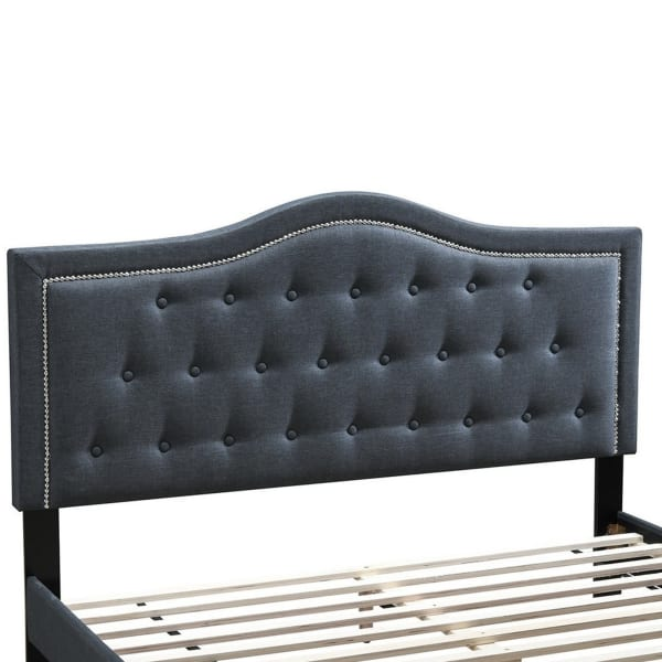 Button Tufted Full Burlap Bed with Curved Headboard, Charcoal Gray