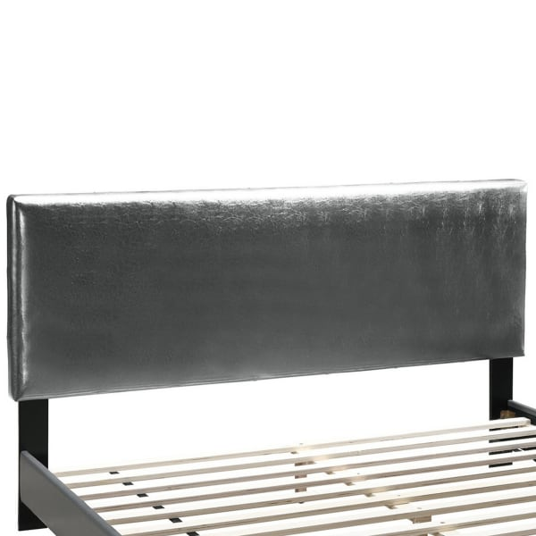 Queen Leatherette Bed with Checkered Tufted Headboard, Gray
