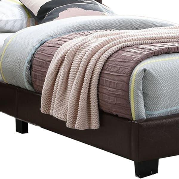 Transitional Style Leatherette Full Bed with Padded Headboard, Dark Brown