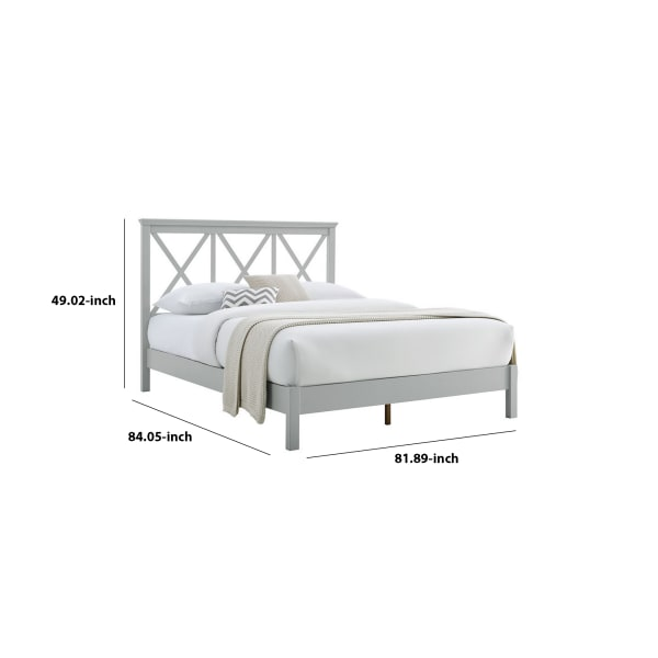 Farmhouse Style King Size Bed with Triple X Design Headboard, Gray