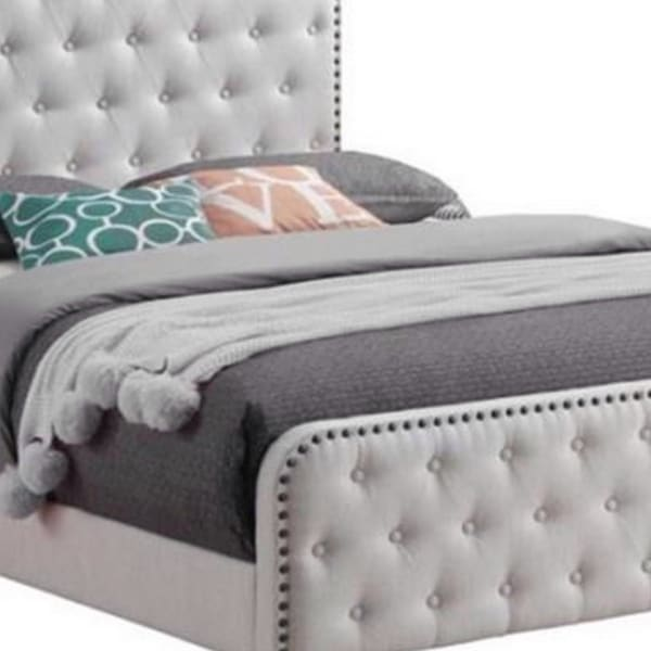 Tufted Eastern King Fabric Bed with Nailhead Trim, Beige