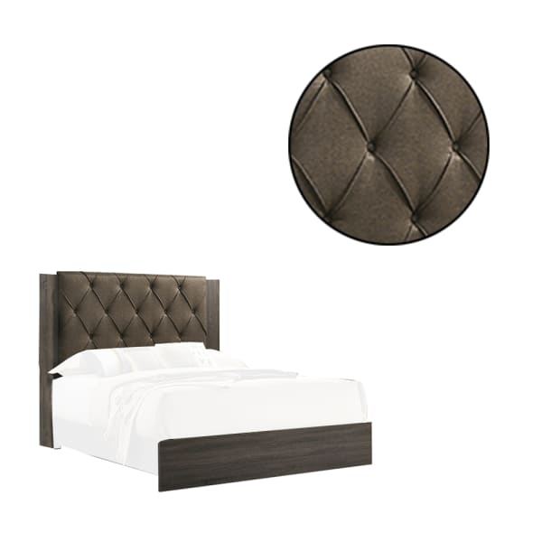 Wooden Eastern king Bed with Button Tufted Headboard, Gray and Brown