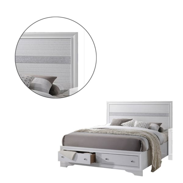 2 Drawer Wooden Eastern King Size Bed with Panel Headboard, White