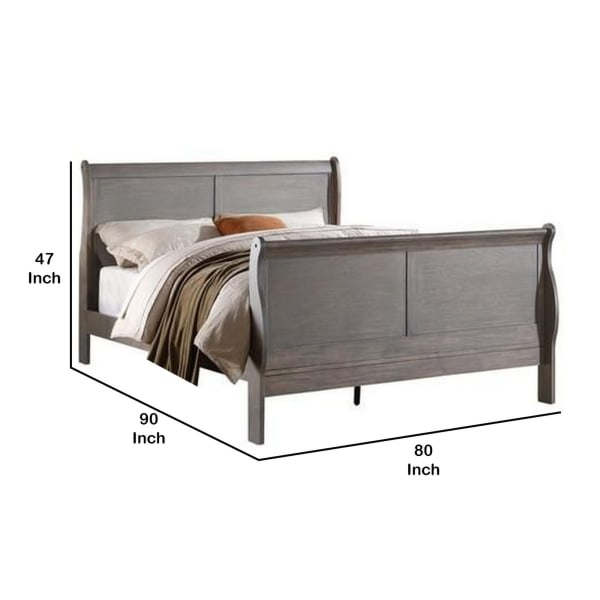 Sleigh Design Eastern King Size Bed with Sleek Legs, Antique Gray